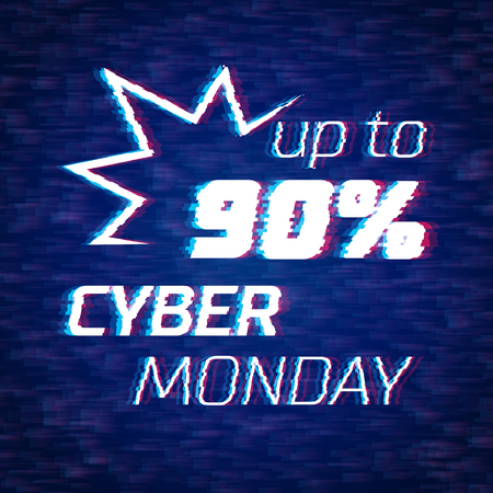 Cyber monday sale discount poster or banner with bang sign and glitch text up to 90% off Illustration