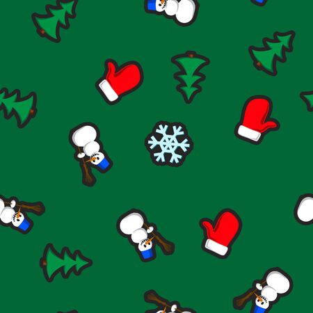 mitten: Christmas seamless pattern with holiday toys and symbols in flat cartoon style. Snowman, mitten, fir and snowflake as winter holiday fun signs Illustration