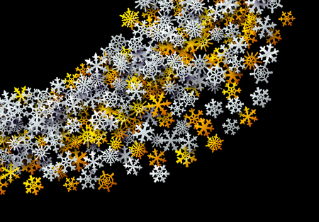 Christmas snowflakes scattered card for winter holidays with golden and silver foil snow
