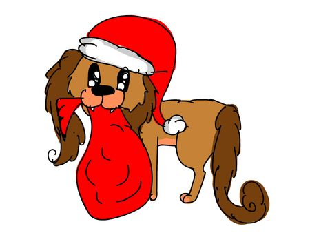 Christmas dog wearing red Santa Claus hat holding Santas red sack or bag with New Years holidays gifts