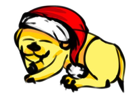Christmas dog wearing red Santa Claus hat sleeping in holidays. Childish style drawing