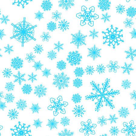 Christmas snow seamless pattern with beautiful snowflakes falling and scattered on tiled repeating ornament of winter snow Illustration