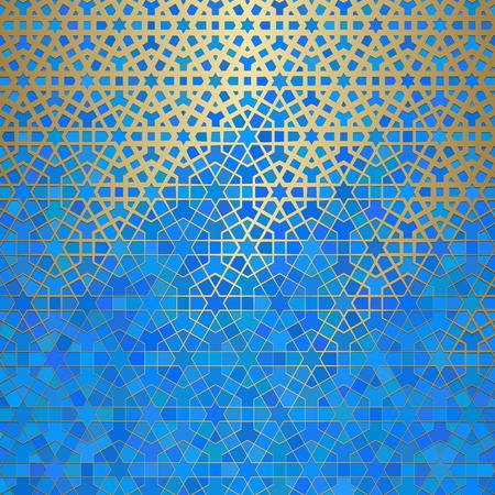 イスラムの装飾、アラビアの幾何学的な質感を持つ抽象的な背景。ステンドグラススタイルの色付きの背景に金色のタイル張りのモチーフ。  イラスト・ベクター素材