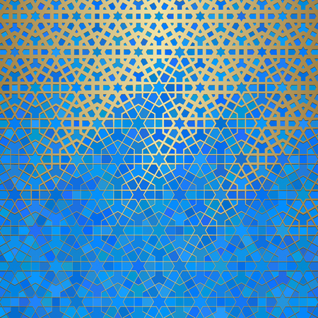 Abstract background with islamic ornament, arabic geometric texture. Golden lined tiled motif over colored background with stained glass style.