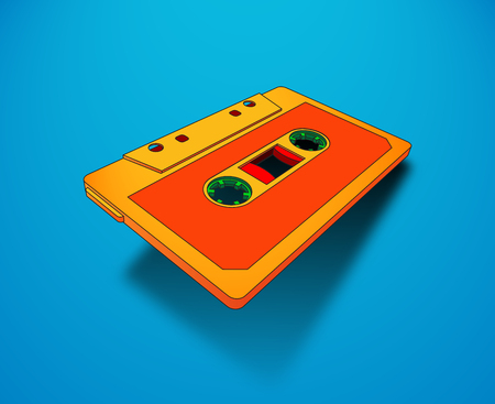 Compact cassette for music or audio records with magnetic tape, 80s memphis styled bright vibrant colors Illustration