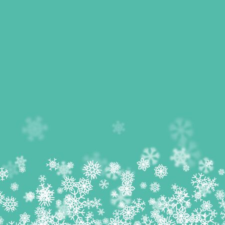 Christmas snow seasonal background with scattered snowflakes falling in winter time for New Years holidays