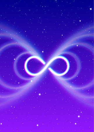 Infinity magic symbol, lemniscate or sideways eight spreads the mystic energy in spiritual space Illustration
