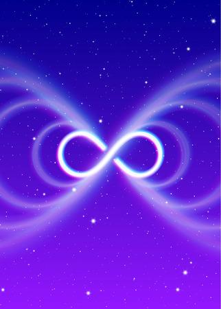 Oneindig magisch symbool, lemniscaat of zijwaarts verspreidt de mystieke energie in spirituele ruimte