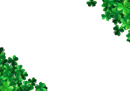Saint Patricks day background with sprayed clover leaves or shamrocks Illustration