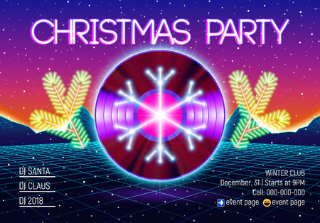 Christmas party invitation poster or flyer with vinyl lp for dj and retro 80s neon styled landscape