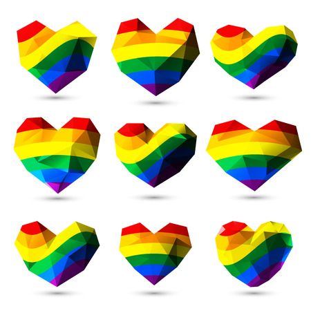 LGBT rainbow colored gem hearts for Valetines Day for gay pride