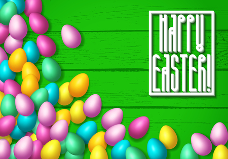 Easter frame with shiny colorful eggs spread over wooden background Illustration