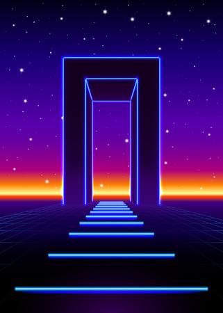Neon 80's gestileerde massieve poort in retro spel landschap met glanzende weg Stock Illustratie