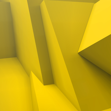 Abstract geometric background with realistic overlapping yellow cubes Illustration