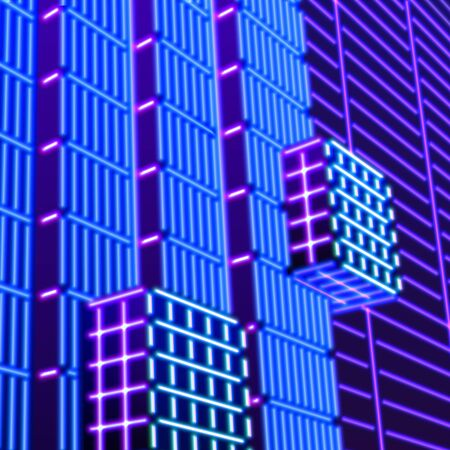 Neon background with ultraviolet glowing grid of 80s styled blue and purple landscape or laser structures in abstract 80s gaming neon graphics
