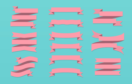 Set of ribbons, banners or gift wrapping tape isolated on background Illustration