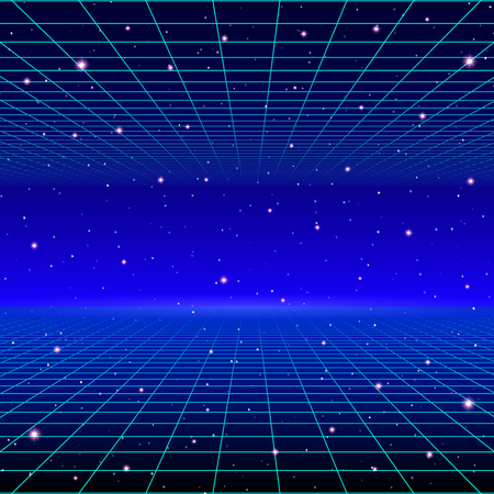Retro neon background with 80s styled laser grid and stars from vintage arcade computer games