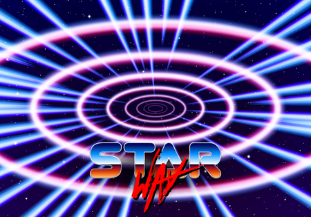 Neon tunnel in space with 80s styled lazer lines for futuristic poster or flyer. Gate with stars and fantastic glowing road Illustration