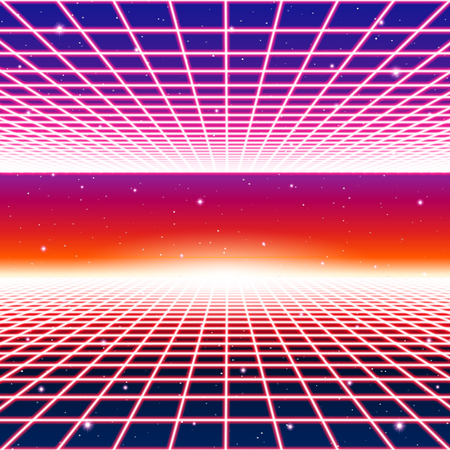 Retro neon background with styled laser grid and stars from vintage arcade computer games