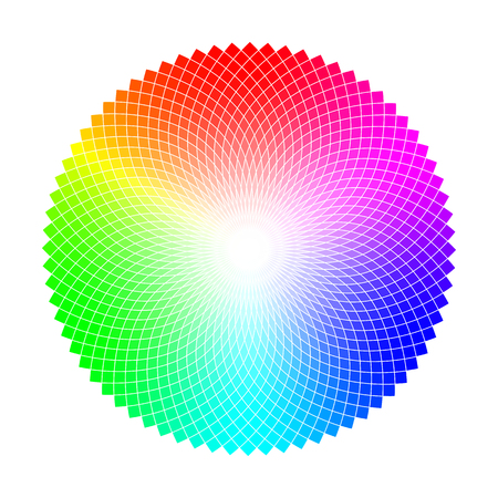 Color wheel or circle with graded coloristic shade variations round table. Pickable color plates ready for palettes.