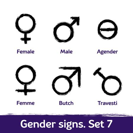 Gender signs drawn with brush. LGBT icons for sex diversity and equality of human rights and self-definition