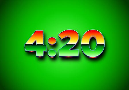 4:20 sign with retro styled shiny chrome digits. Illustration