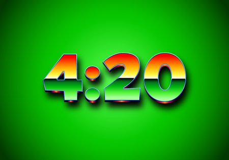 4:20 sign with retro styled shiny chrome digits. Illustration