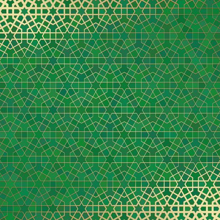 Golden lined tiled motif over green colored background with stained glass style.