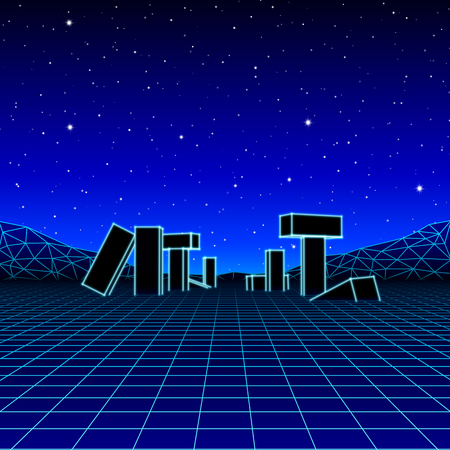 Neon grid landscape with 80s retro wave game style, ancient stone ruins with neon lights and night sky with stars for party posters
