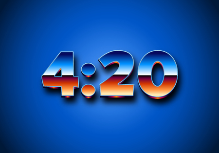 4:20 sign with retro styled shiny chrome digits for prints. Illustration