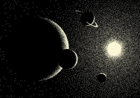 Spazio paesaggio con vista panoramica sul pianeta e le stelle realizzate con dotwork in stile retrò