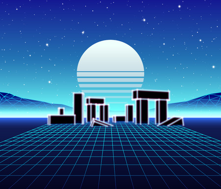 Neon grid landscape with 80s retro wave game style, ancient stone ruins with neon lights and sun for party posters.