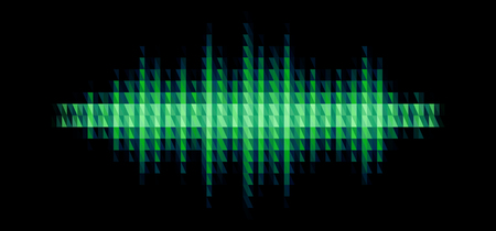 Audio or music green shiny sound waveform with triangular light filter with colorful triangles for party poster or medical equipment cover.