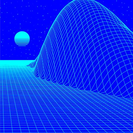 Landscape with blue wireframe grid of 80s styled retro computer game or science inspired background 3d structure with sun and mountains or hills