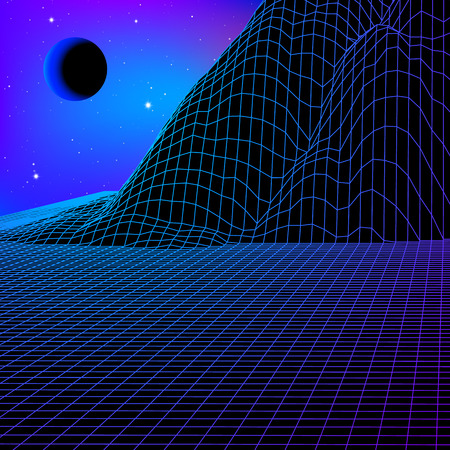 Landscape with wireframe grid of 80s styled retro computer game or science inspired background 3d structure with moon eclipse and mountains or hills