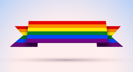 Gay pride banner with rainbow colored flag for Pride Month, sexual identity freedom and equality
