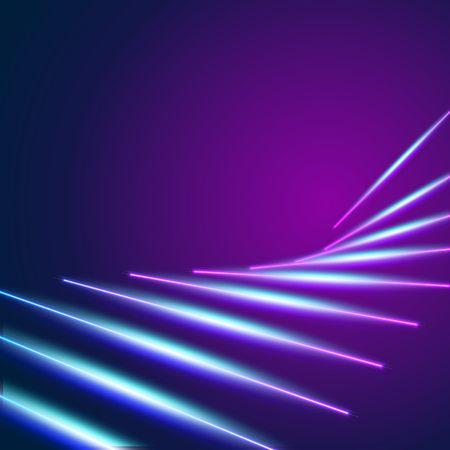 Fondo de líneas de neón brillante con rayos láser estilo años 80