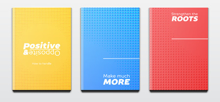 Corporate booklet covers or annual reports and presentation books with textured triangular design and hard cover
