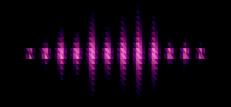 Audio or music purple shiny sound waveform with triangular light filter with colorful triangles for party poster or medical equipment cover