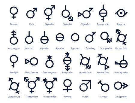Collection d'icônes de genre ou de signes de liberté et d'égalité dans la société moderne. 29 symboles pour le mois de la fierté ou tout mouvement pour les droits à la diversité