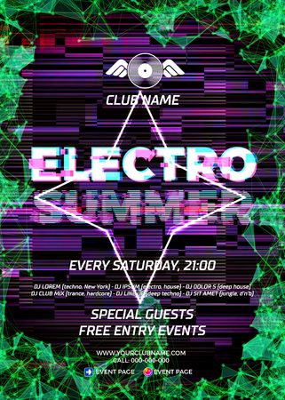 Glitch party poster with ultraviolet or purple background and star for techno rave club nights. Advertising leaflet or flyer with modern electronic music dance party Illustration