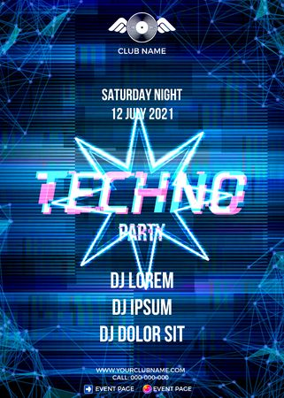 Glitch party poster with blue background and star for techno rave club nights. Advertising leaflet or flyer with modern electronic music dance party Illustration