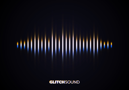 Audio or sound wave with music volume peaks and color glitch effect on blurred line vibrating waveform Illustration