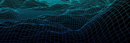 Paisaje digital con montañas o colinas hechas de cuadrícula de líneas en tecnología futurista o estilo científico