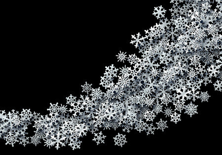 Christmas snowflakes scattered card for winter holidays with silver foil snow
