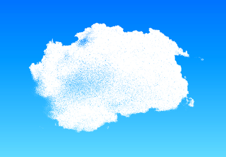 Cloud made of scattered dots in the blue sky, dotwork illustration
