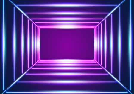 Bright neon lines background with 80s style laser rays