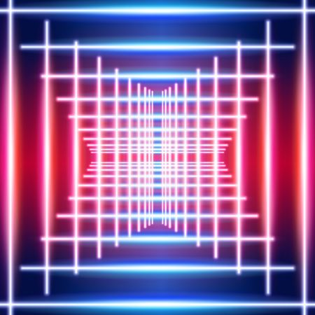 Bright neon lines ultraviolet background with 80s style shiny laser rays corridor or crossing Ilustração