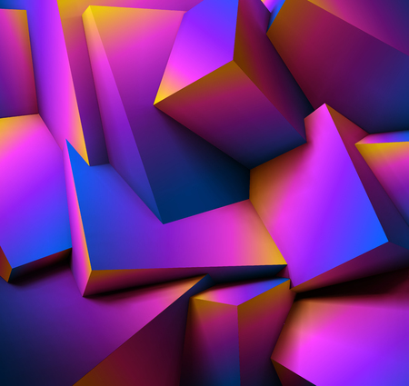 Abstract geometric background with vibrant overlapping ultraviolet cubes