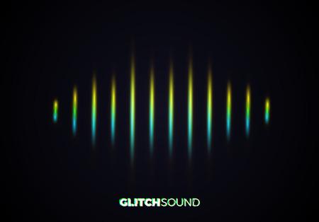 Audio- oder Schallwelle mit Musiklautstärkespitzen und Farbfehlereffekt auf die Wellenform mit verschwommener Linienvibration